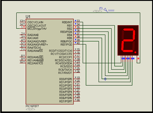Interfacing 7 segment display with pic16f877 microcontroller