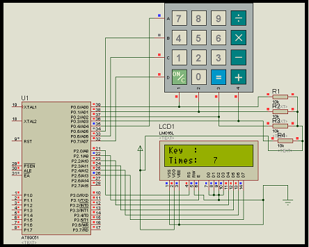 Interfacing 4x4 keypad with LCD using 8051 microcontroller